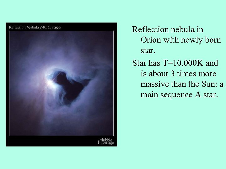 Reflection nebula in Orion with newly born star. Star has T=10, 000 K and
