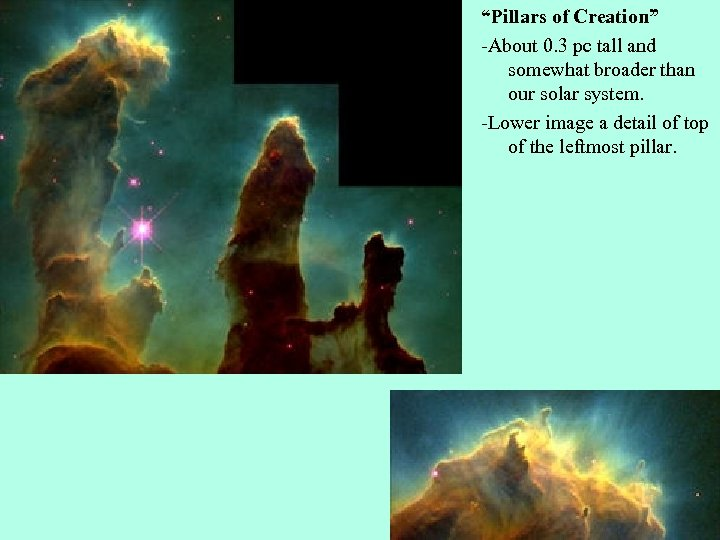 """""""Pillars of Creation"""" -About 0. 3 pc tall and somewhat broader than our solar"""
