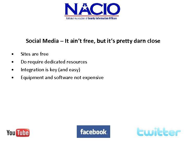 Social Media – It ain't free, but it's pretty darn close • • Sites