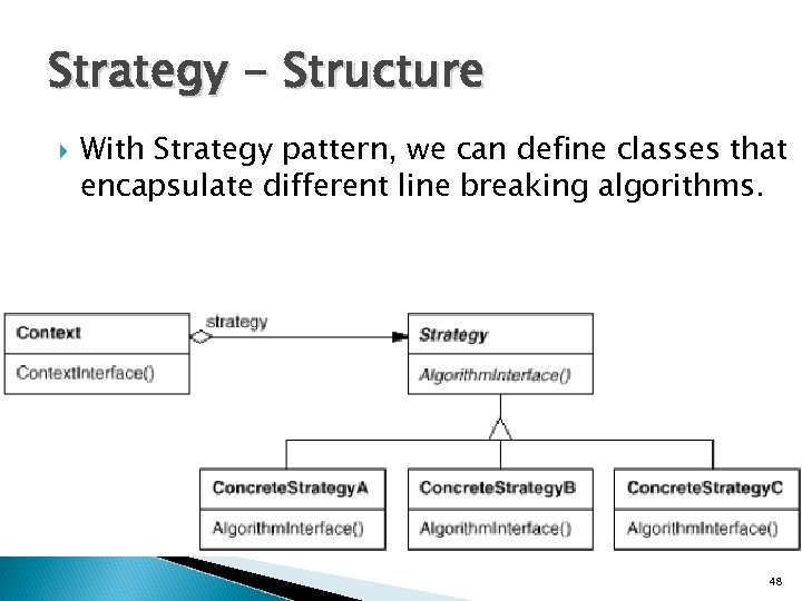 Strategy - Structure With Strategy pattern, we can define classes that encapsulate different line
