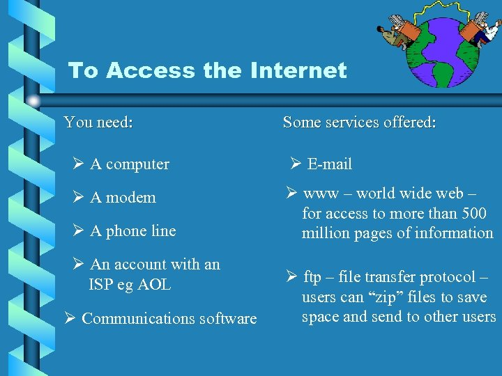 To Access the Internet You need: Some services offered: Ø A computer Ø E-mail