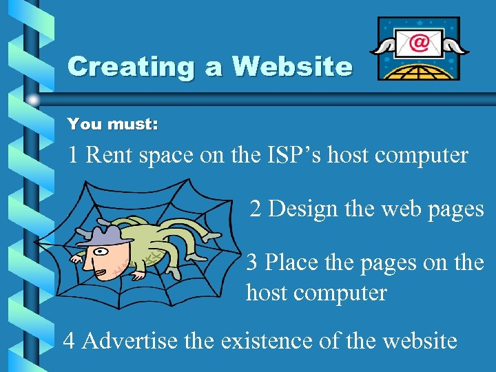 Creating a Website You must: 1 Rent space on the ISP's host computer 2