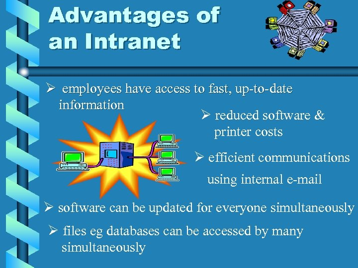 Advantages of an Intranet Ø employees have access to fast, up-to-date information Ø reduced