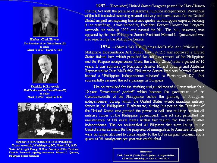 1932 – (December) United States Congress passed the Hare-Hawes- Herbert Clark Hoover 31
