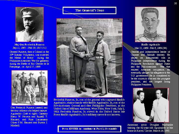 20 The General's Sons Maj Gen Frederick Funston Sep 11, 1865 – Feb 29,