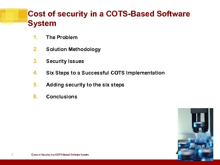 Cost of security in a COTS-Based Software System 1. 2. Solution Methodology 3. Security