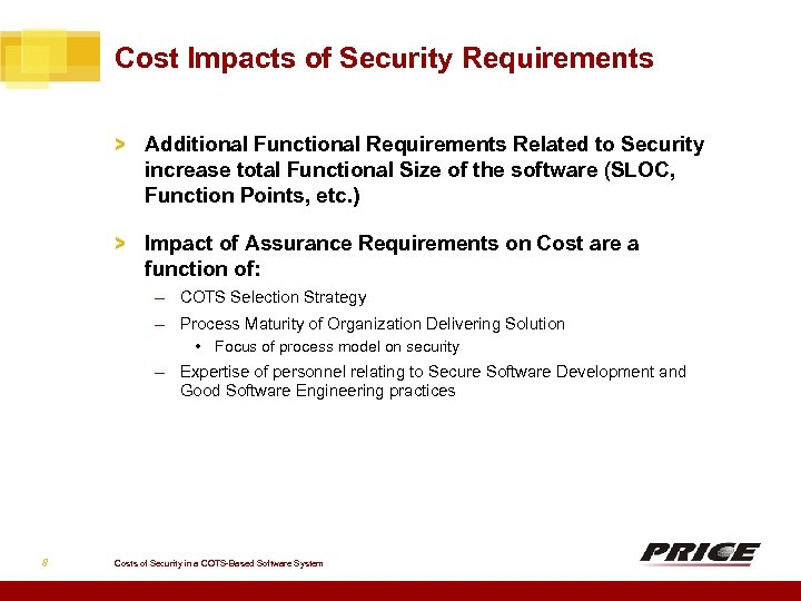 Cost Impacts of Security Requirements > Additional Functional Requirements Related to Security increase total