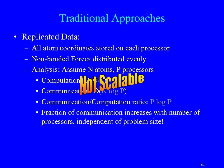 Traditional Approaches • Replicated Data: – All atom coordinates stored on each processor –