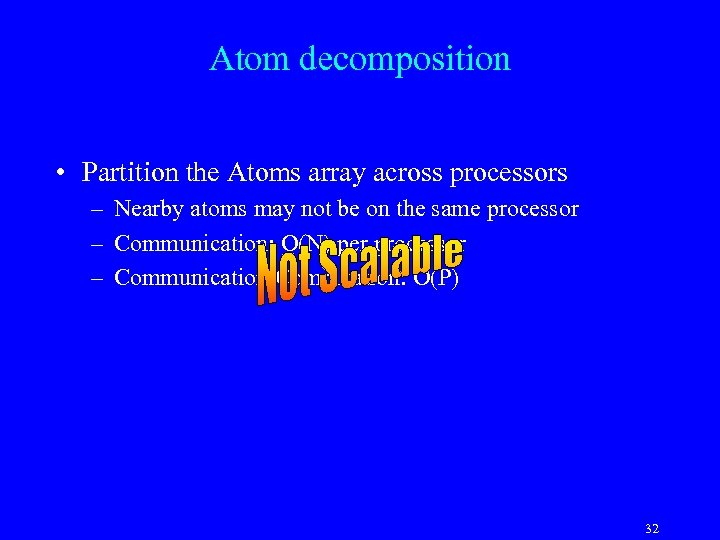 Atom decomposition • Partition the Atoms array across processors – Nearby atoms may not