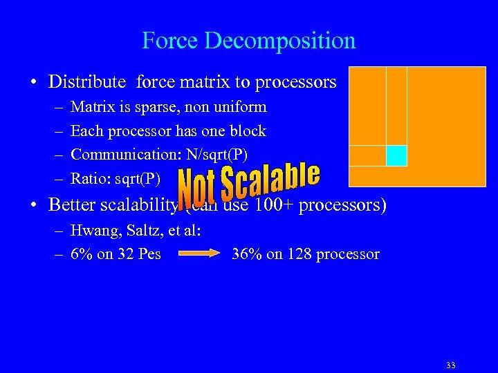 Force Decomposition • Distribute force matrix to processors – – Matrix is sparse, non