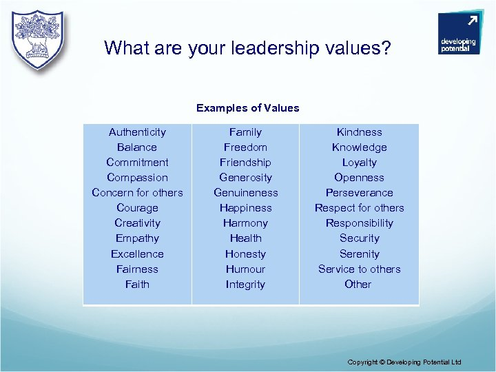 What are your leadership values? Examples of Values Authenticity Balance Commitment Compassion Concern for
