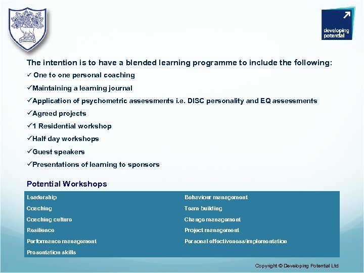 The intention is to have a blended learning programme to include the following: ü
