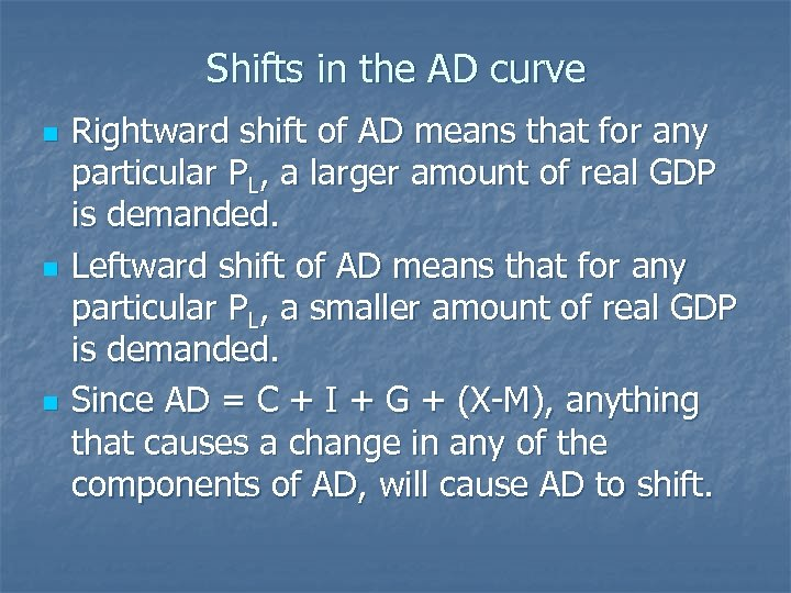 Shifts in the AD curve n n n Rightward shift of AD means that
