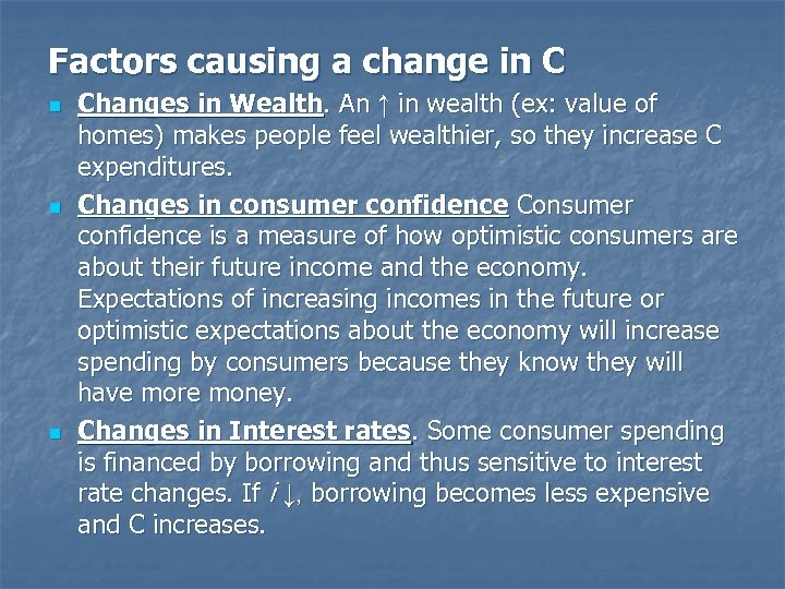 Factors causing a change in C n n n Changes in Wealth. An ↑