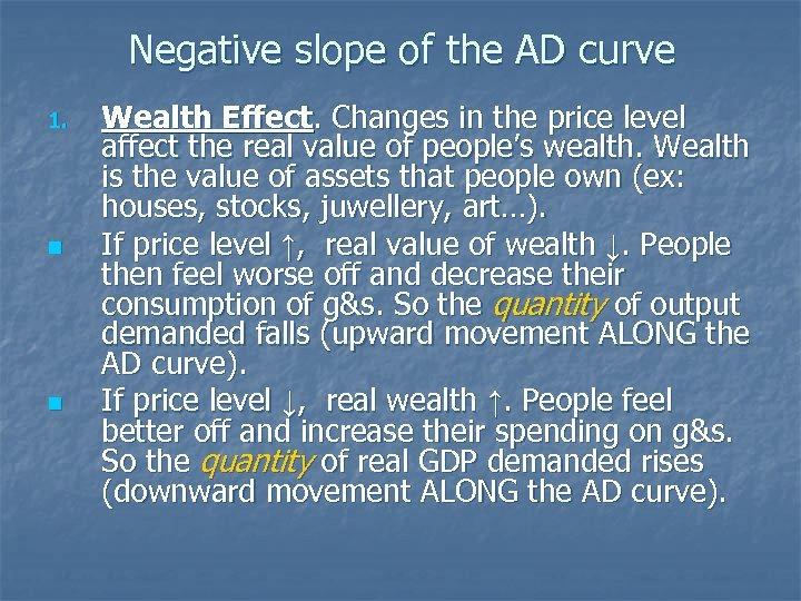 Negative slope of the AD curve 1. n n Wealth Effect. Changes in the