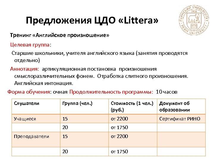 Предложения ЦДО «Littera» Тренинг «Английское произношение» Целевая группа: Старшие школьники, учителя английского языка (занятия
