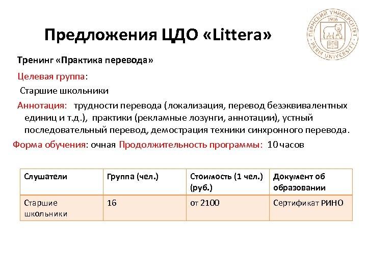 Предложения ЦДО «Littera» Тренинг «Практика перевода» Целевая группа: Старшие школьники Аннотация: трудности перевода (локализация,