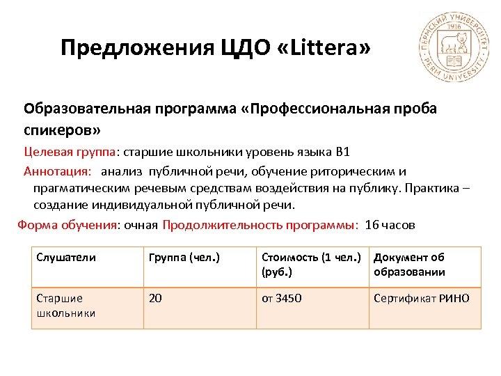 Предложения ЦДО «Littera» Образовательная программа «Профессиональная проба спикеров» Целевая группа: старшие школьники уровень языка