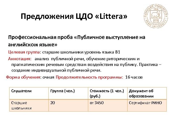 Предложения ЦДО «Littera» Профессиональная проба «Публичное выступление на английском языке» Целевая группа: старшие школьники