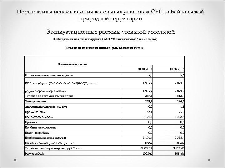 Перспективы использования котельных установок СУГ на Байкальской природной территории Эксплуатационные расходы угольной котельной Необходимая
