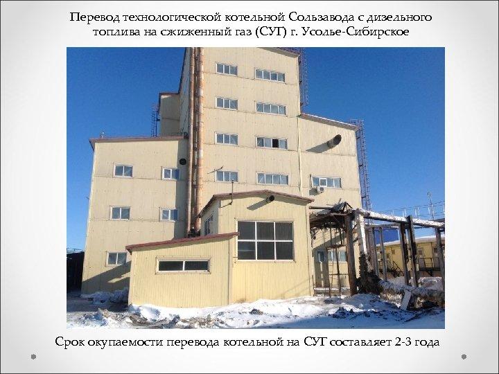 Перевод технологической котельной Сользавода с дизельного топлива на сжиженный газ (СУГ) г. Усолье-Сибирское Срок