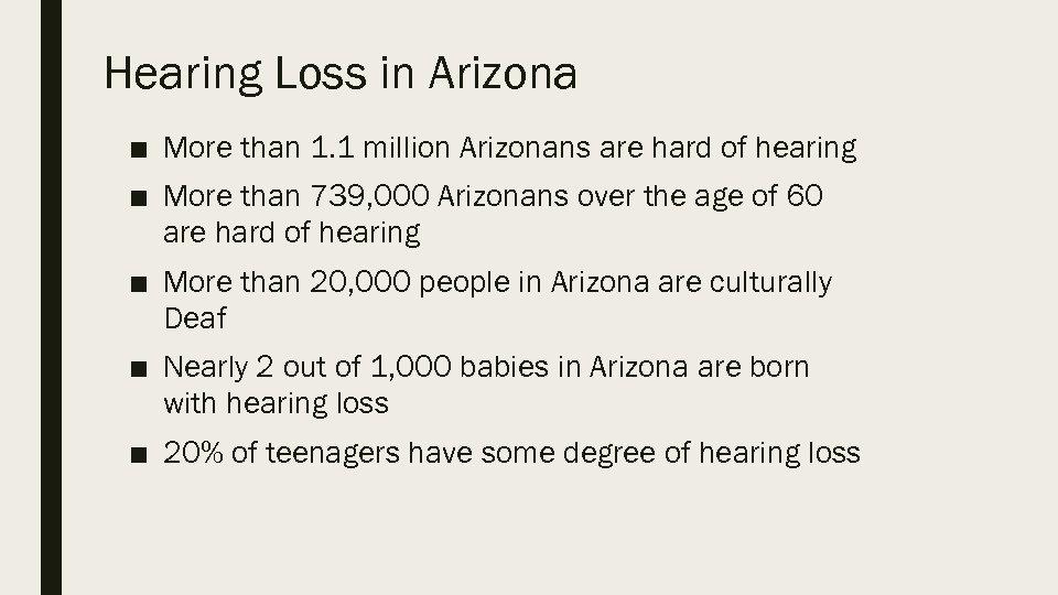 Hearing Loss in Arizona ■ More than 1. 1 million Arizonans are hard of