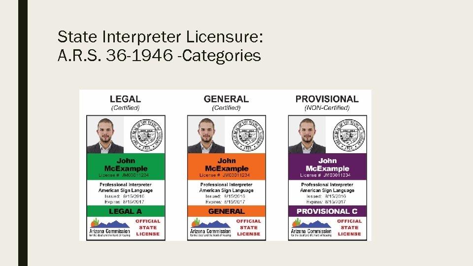 State Interpreter Licensure: A. R. S. 36 -1946 -Categories