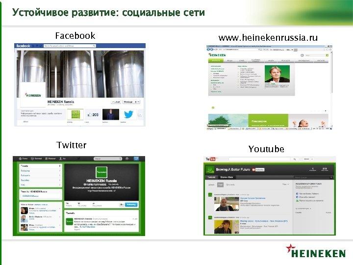 Устойчивое развитие: социальные сети Facebook Twitter www. heinekenrussia. ru Youtube