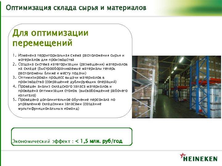 Оптимизация склада сырья и материалов Для оптимизации перемещений 1. Изменена территориальная схема расположения сырья
