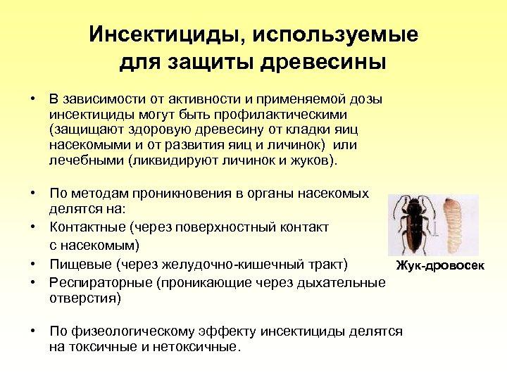 Инсектициды, используемые для защиты древесины • В зависимости от активности и применяемой дозы инсектициды