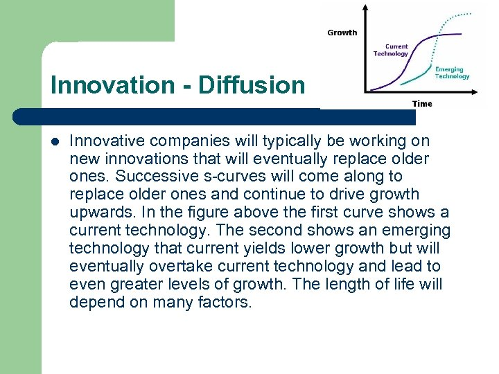 Innovation - Diffusion l Innovative companies will typically be working on new innovations that