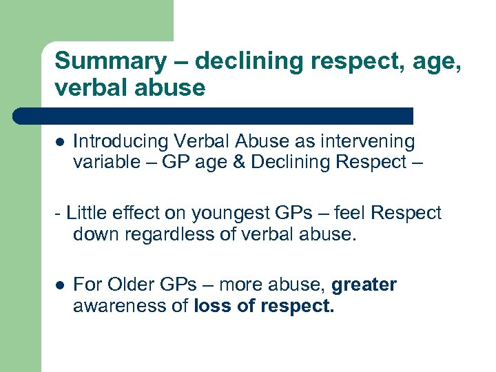 Summary – declining respect, age, verbal abuse l Introducing Verbal Abuse as intervening variable