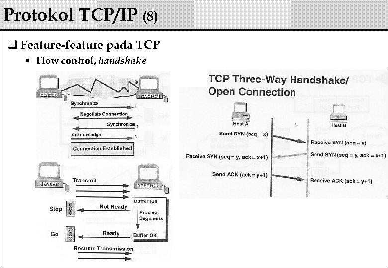 Protokol TCP/IP (8) q Feature-feature pada TCP § Flow control, handshake