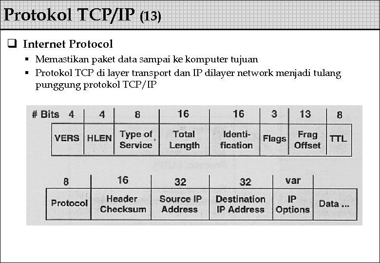 Protokol TCP/IP (13) q Internet Protocol § Memastikan paket data sampai ke komputer tujuan