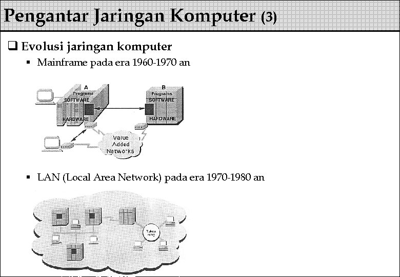 Pengantar Jaringan Komputer (3) q Evolusi jaringan komputer § Mainframe pada era 1960 -1970
