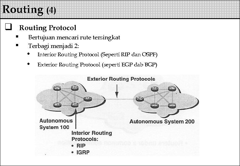 Routing (4) q Routing Protocol § § Bertujuan mencari rute tersingkat Terbagi menjadi 2: