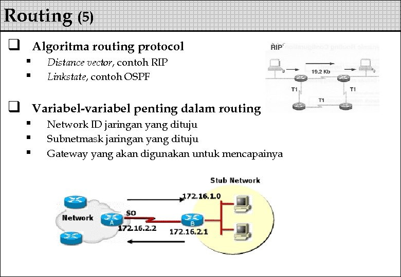 Routing (5) q Algoritma routing protocol § § q Distance vector, contoh RIP Linkstate,