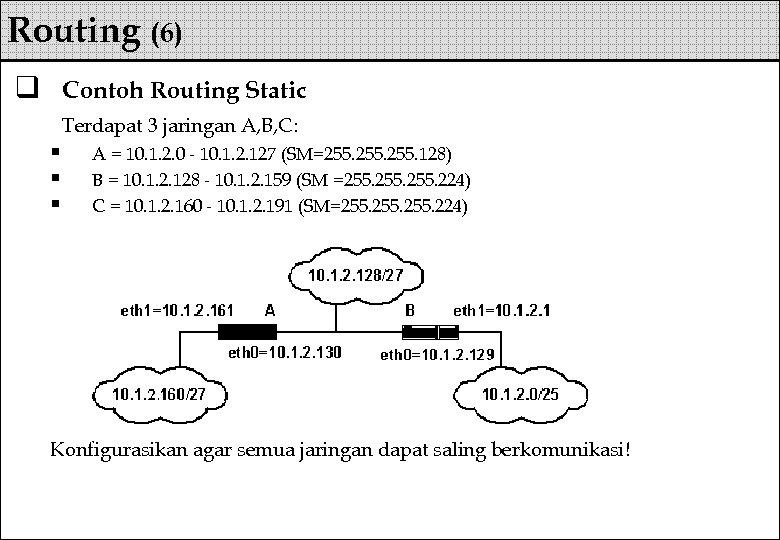 Routing (6) q Contoh Routing Static Terdapat 3 jaringan A, B, C: § §