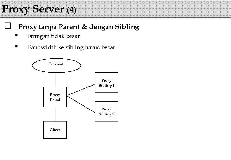 Proxy Server (4) q Proxy tanpa Parent & dengan Sibling § § Jaringan tidak