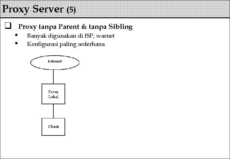 Proxy Server (5) q Proxy tanpa Parent & tanpa Sibling § § Banyak digunakan