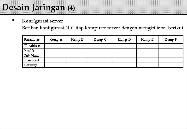 Desain Jaringan (4) § Konfigurasi server Berikan konfigurasi NIC tiap komputer server dengan mengisi