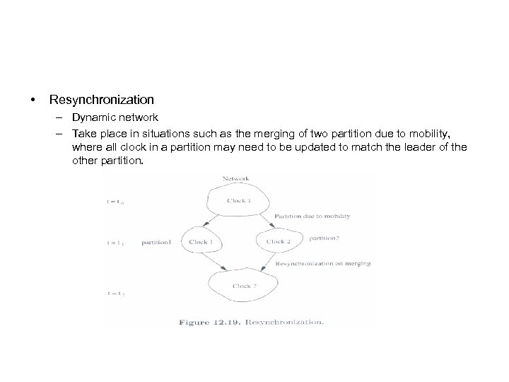 • Resynchronization – Dynamic network – Take place in situations such as the
