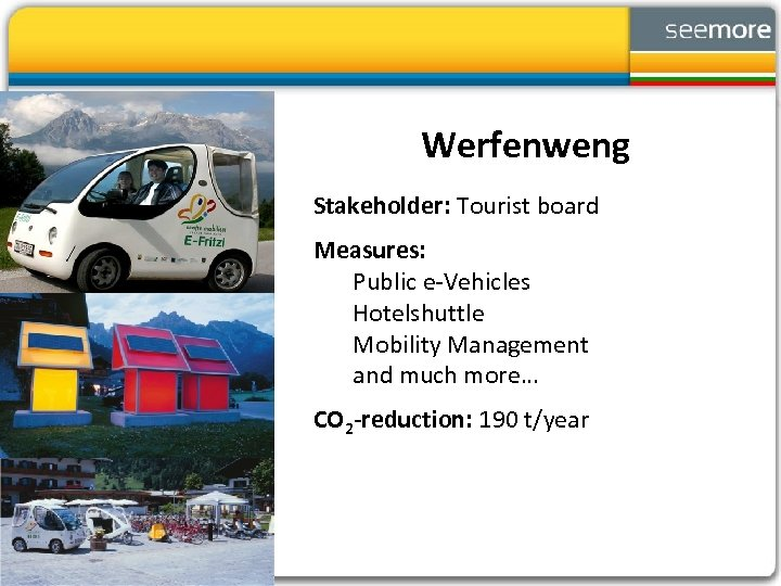 Werfenweng Stakeholder: Tourist board Measures: Public e-Vehicles Hotelshuttle Mobility Management and much more… CO