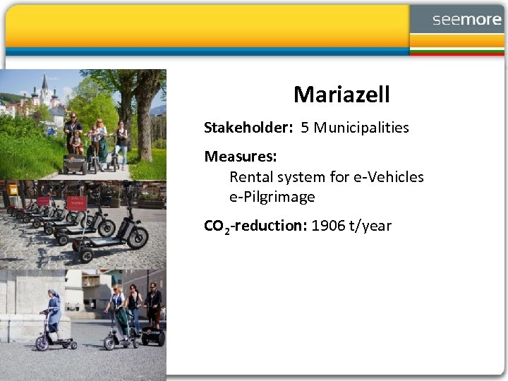 Mariazell Stakeholder: 5 Municipalities Measures: Rental system for e-Vehicles e-Pilgrimage CO 2 -reduction: 1906