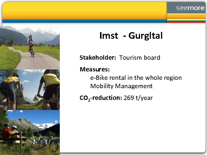 Imst - Gurgltal Stakeholder: Tourism board Measures: e-Bike rental in the whole region Mobility