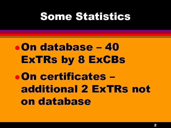 Some Statistics l On database – 40 Ex. TRs by 8 Ex. CBs l