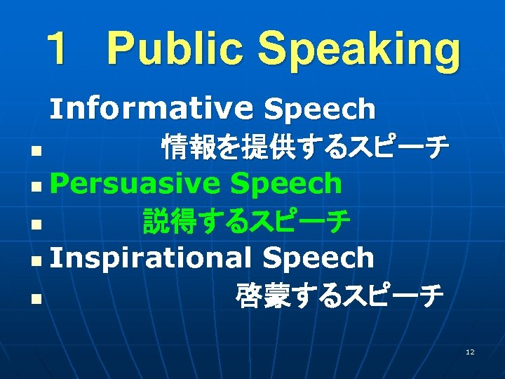 1 Public Speaking  Informative Speech  n       情報を提供するスピーチ n Persuasive Speech   n      説得するスピーチ n Inspirational Speech