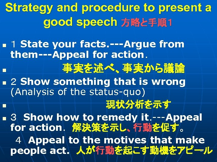 Strategy and procedure to present a good speech 方略と手順1 1 State your facts. ---Argue