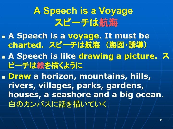 A Speech is a Voyage  スピーチは航海 n n n A Speech is a voyage.