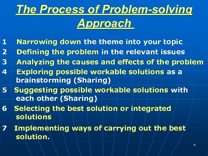 The Process of Problem-solving Approach 1 Narrowing down theme into your topic 2 Defining